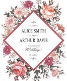 O casamento agradece ao convite Cartão realístico bonito de Rosa da camomila das flores Imagens de Stock