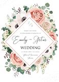 O casamento convida, convite, salvar o design floral do cartão de data A flor cor-de-rosa de Rosa, cora flores empoeiradas da anê fotografia de stock royalty free