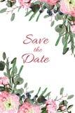 O casamento convida o projeto floral das hortaliças do vetor do cartão do convite: A fronda da samambaia da floresta, verde do ra Foto de Stock Royalty Free