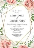 O casamento floral convida, projeto de cartão do invtation A aquarela cora p ilustração do vetor