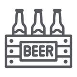 O caso da linha ícone da cerveja, o álcool e a bebida, bloco de garrafas de cerveja assinam, os gráficos de vetor, um teste padrã ilustração royalty free