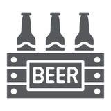 O caso do ícone do glyph da cerveja, o álcool e a bebida, bloco de garrafas de cerveja assinam, os gráficos de vetor, um teste pa ilustração do vetor