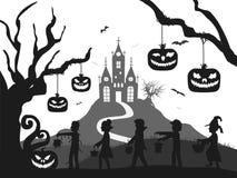 O castelo, abóbora, traje caçoa, árvore, silhueta do Dia das Bruxas do bastão preto e branco ilustração royalty free