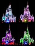 O castelo de Cinderella do mundo de Disney na noite Fotos de Stock