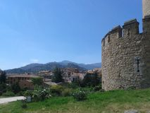O castelo de Mendonza, Manzanares el Real, Espanha, ao sul de Europa Fotografia de Stock Royalty Free