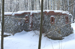 O castelo de pedra coberto com a neve Imagem de Stock Royalty Free