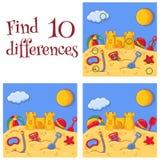 O castelo e os brinquedos da areia do mar do verão encontram que 10 diferenças interrogam a ilustração dos desenhos animados do v ilustração royalty free