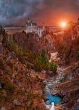 O castelo ideal - Neuschwanstein Imagens de Stock