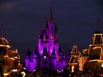 O castelo mágico do reino de Disneyworld ilumina 4 Foto de Stock