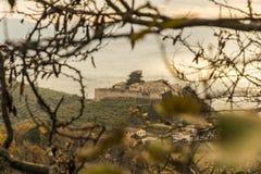 O castelo medieval do alto de Campello em Itália visto nos ramos de uma árvore fotos de stock royalty free