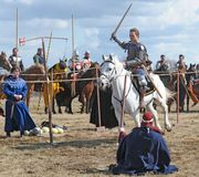 O cavaleiro do cavalo com uma espada em uma mão em um branco Foto de Stock