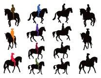 O cavaleiro do cavalo mostra em silhueta a coleção Foto de Stock Royalty Free