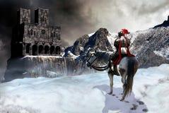 O cavaleiro e o castelo ilustração royalty free