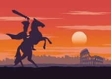 O cavaleiro tem ser vitorioso, passeio no colosseum próximo do cavalo, casa do retorno no tempo do por do sol, cor do vintage ilustração stock