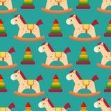O cavalo de madeira engraçado colore a decoração sem emenda da sala de jogos das crianças da indústria têxtil dos fundos do teste ilustração stock