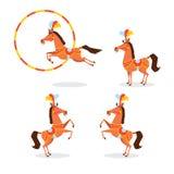 O cavalo em um terno bonito, joia do circo, empluma-se saltos através da aro, está em seus pés traseiros Poses diferentes Fotografia de Stock