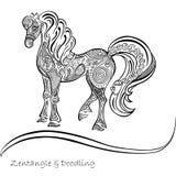 O cavalo ornaments testes padrões preto e branco Fotografia de Stock
