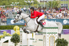 O cavalo que salta - Steve Guerdat Foto de Stock Royalty Free
