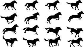O cavalo salta a silhueta Fotos de Stock Royalty Free
