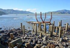 O cemitério dos navios da baía dos reguladores na maré baixa Fotografia de Stock