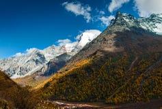 O cenário bonito da montanha da neve Fotos de Stock