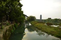 O cenário da cidade antiga de Wuzhen em Zhejiang, China Foto de Stock