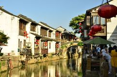 O cenário da rua de Shantang em Suzhou, China na mola imagem de stock royalty free