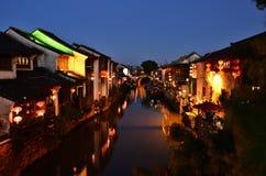 O cenário de Zhouzhuang em Suzhou, China na mola fotografia de stock