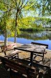 O cenário do outono perto de um lago com amarelo sae em árvores na queda Fotografia de Stock Royalty Free