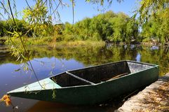 O cenário do outono perto de um lago com amarelo sae em árvores na queda Imagem de Stock