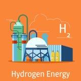 O central elétrica do hidrogênio em um fundo alaranjado Conceito das fontes de energia do hidrogênio Ilustração do vetor Fotografia de Stock Royalty Free