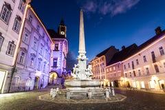 O centro da cidade de Ljubljana, Slovenia, Europa. Fotografia de Stock Royalty Free