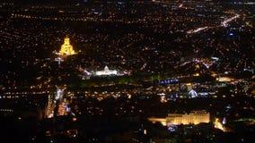 O centro de Tbilisi na noite geórgia Foco macio filme