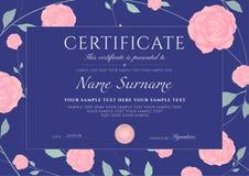 O certificado do molde da conclusão com as rosas azuis das flores e quadro floral verde do teste padrão sae ilustração royalty free