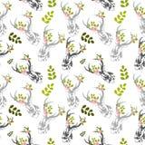 O cervo, flor do veado sae do teste padrão sem emenda Fotografia de Stock
