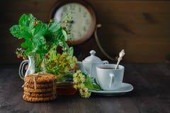 O chá útil do Linden no copo ramifica flores e folhas do Linden Fotografia de Stock Royalty Free