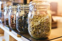 O chá com hibiscus e selvagem verdes aumentaram, camomila nos frascos de vidro Fotos de Stock Royalty Free