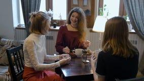 O chá da menina bonita nova e o café bebendo, divertimento, comunicam-se filme