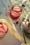 O chá de gelo vermelho natural feito do hibiscus floresce as pétalas chamadas Fleur de Jamaica em México imagens de stock royalty free