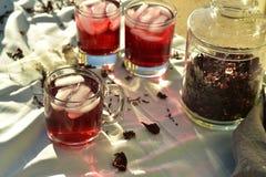 O chá de gelo vermelho natural feito do hibiscus floresce as pétalas chamadas Fleur de Jamaica em México fotos de stock