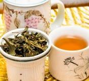 O chá no pátio representa o tempo e o Breaktime da ruptura foto de stock royalty free
