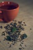 O chá seco com verde sae no copo, no fundo de serapilheira Fotografia de Stock Royalty Free