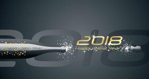 O champanhe 2018 do ano novo feliz borbulha fundo abstrato preto do fogo de artifício ilustração royalty free