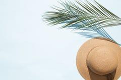 O chapéu da mulher da palha foto de stock