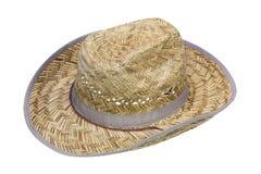 O chapéu de cowboy rústico fêz a palha do ââof Fotos de Stock Royalty Free