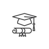 O chapéu e o diploma da graduação alinham o ícone, sinal do vetor do esboço ilustração do vetor