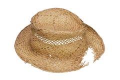 O chapéu quebrado rústico fêz a palha do ââof Imagens de Stock Royalty Free