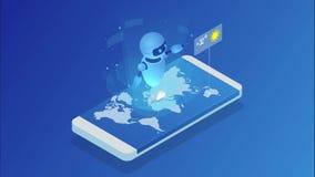O chatbot vivo diz à previsão de tempo o widget em linha isométrico da previsão de tempo programa aplicativo móvel V?deo de Hd vídeos de arquivo