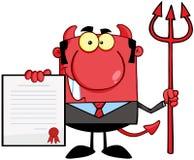 Chefe do diabo vermelho com Trident Fotos de Stock