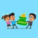 O chefe e o empregado do negócio dos desenhos animados fazem o conflito com saco do dinheiro Foto de Stock